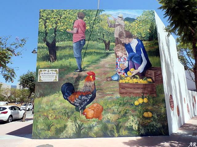 "Mural Artístico en Avda. Andalucía ""La Huerta de Irene"" Artista: Encarna de Hoyos - Ruta de Murales Artísticos"