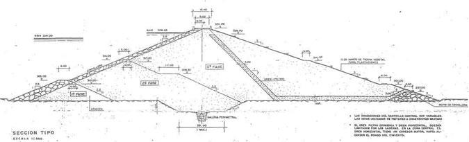 Sección Tipo - Presa del Embalse de Villalba de Barros