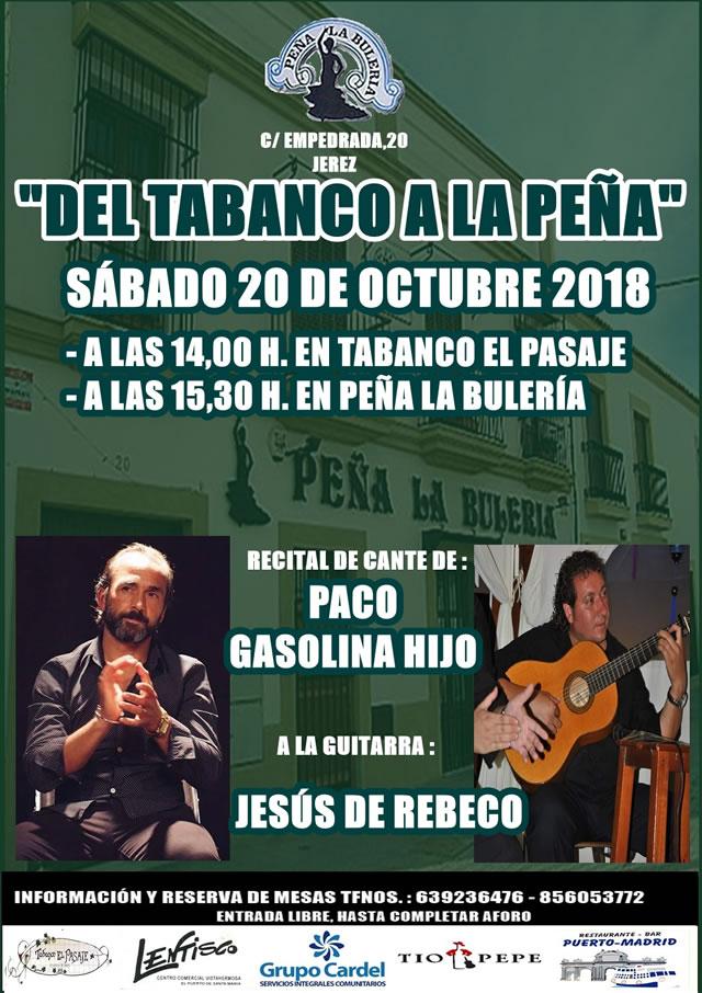 Recital de Cante de Paco Gasolina Hijo - Peña Flamenca de Jerez de la Frontera