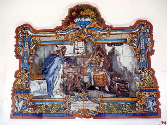 Mural en el Rincón de los Abuelos de Cómpeta. Despedida al atardecer de Martín Alguacil hacia su proclama y alzamiento en armas contra los Cristianos