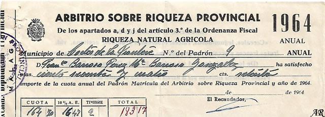 Riqueza Natural Agrícola. Año 1964. Cortes de la Frontera