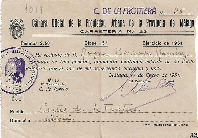 Cámara Oficial de la Propiedad Urbana de la Provincia de Málaga. Año 1951