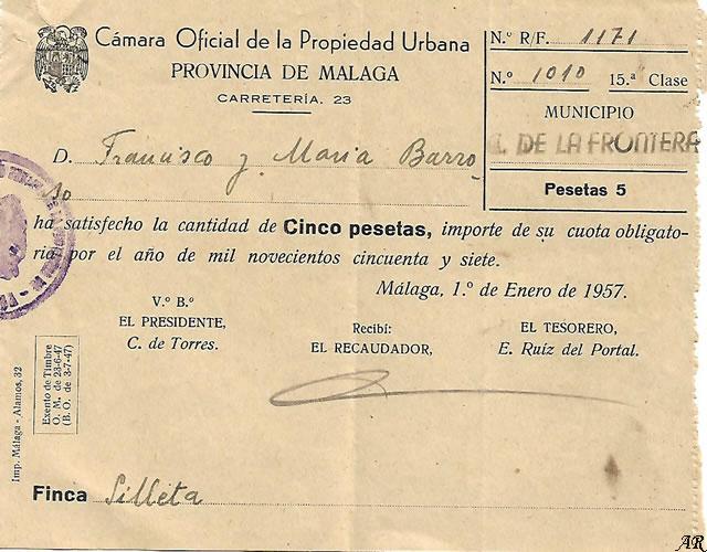 Cámara Oficial de la Propiedad Urbana - Cortes de la Frontera. 1957