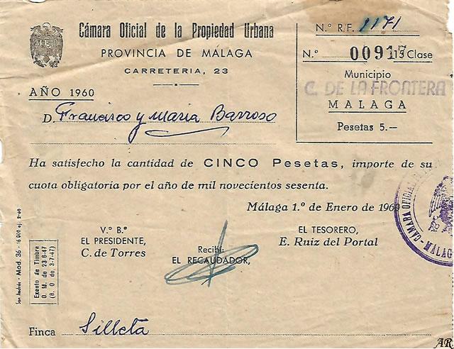 Cámara Oficial de la Propiedad Urbana. Año 1960. Cortes de la Frontera