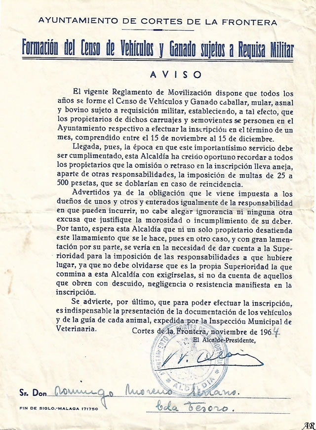 Formación del Censo de Vehículos y Ganado sujetos a Requisa Militar. Cortes de la Frontera. Año 1964