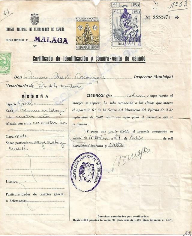 Certificado de Identificación y compra-venta de ganado