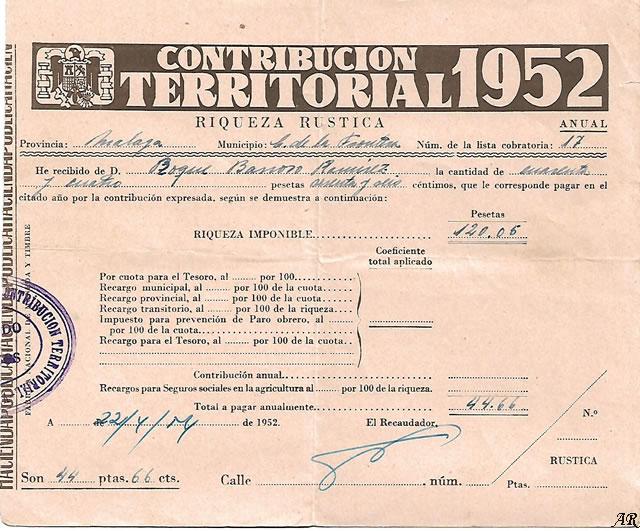 Contribución Territorial 1952. Riqueza Rústica