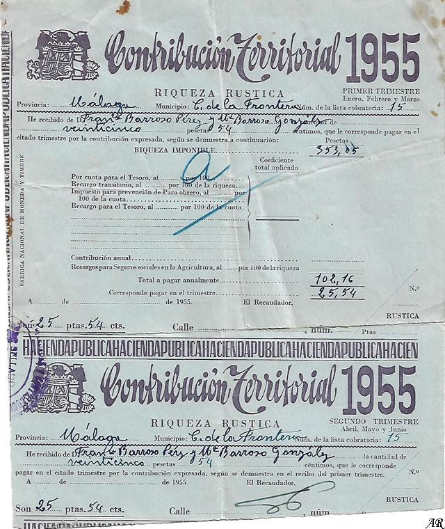 Contribución Territorial 1955 - Riqueza Rústica - Hacienda Pública