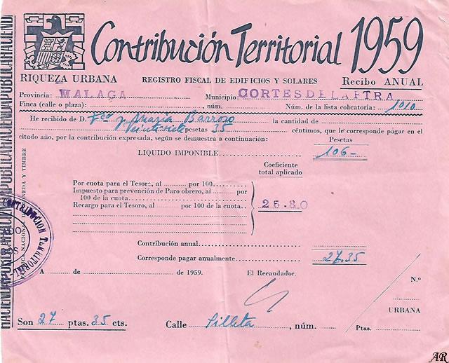 Contribución Territorial 1959 - Registro Fiscal de Edificios y Solares - Riqueza Urbana