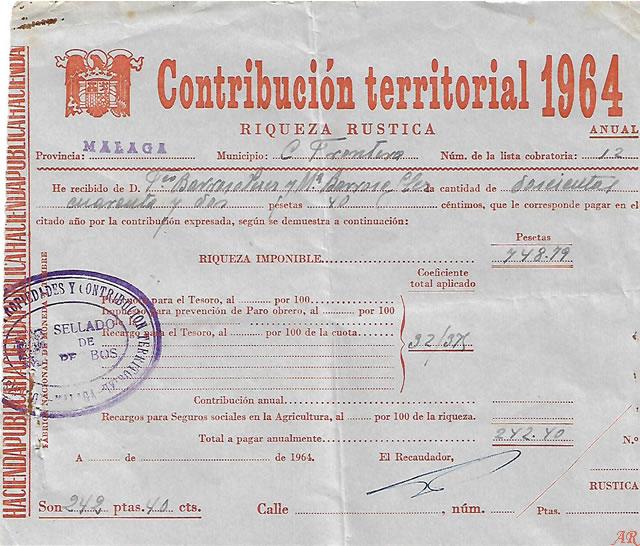 Contribución Territorial. Riqueza Rústica. Año 1964
