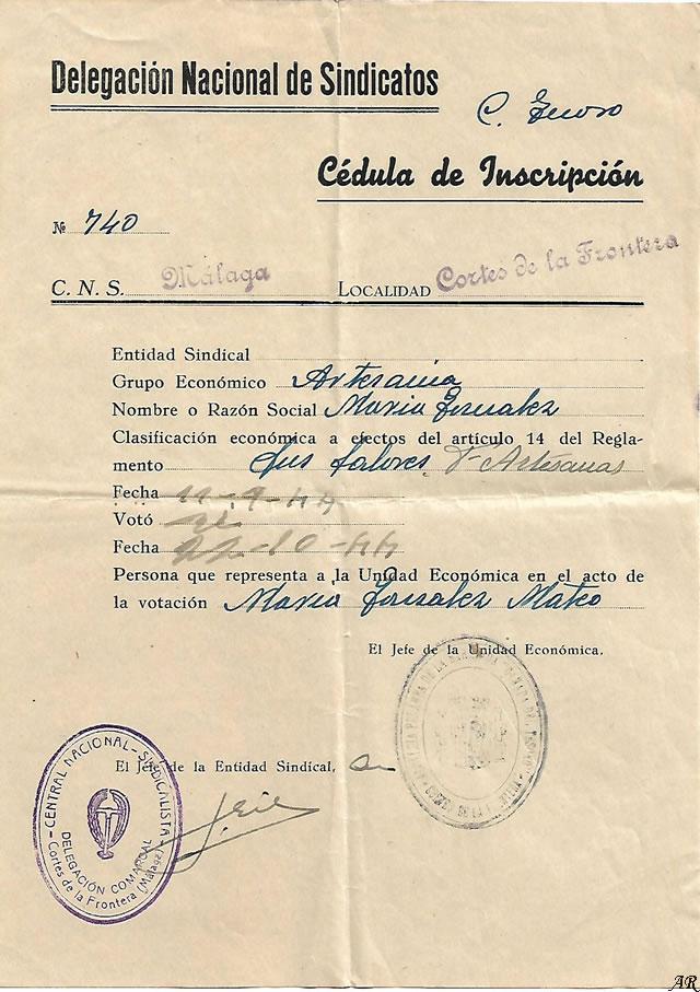 Delegación Nacional de Sindicatos - Cédula de Inscripción