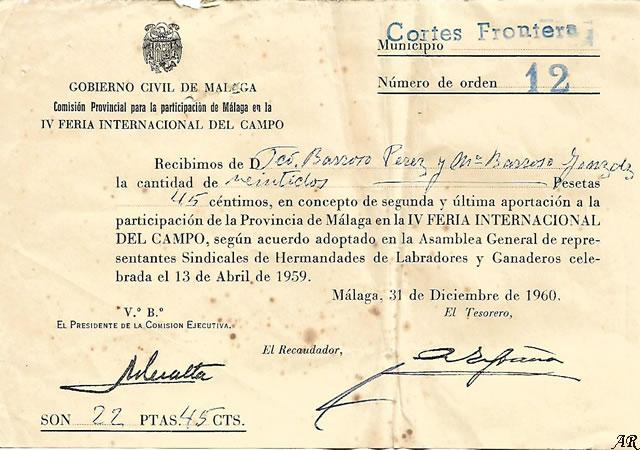 Comisión Provincial para la participación de Málaga en la IV Feria Internacional del Campo. Año 1961