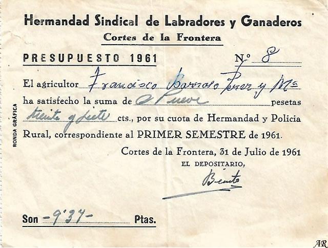Hermandad Sindical de Labradores y Ganaderos de Cortes de la Frontera - Hermandad y Policía Rural. Año1961