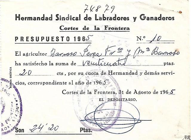 Hermandad Sindical de Labradores y Ganaderos - Cortes de la Frontera. Año 1965