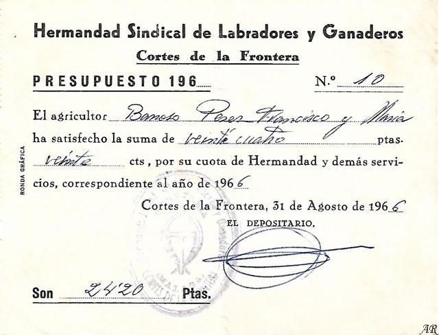 Hermandad Sindical de Labradores y Ganaderos - Cortes de la Frontera. Año 1966