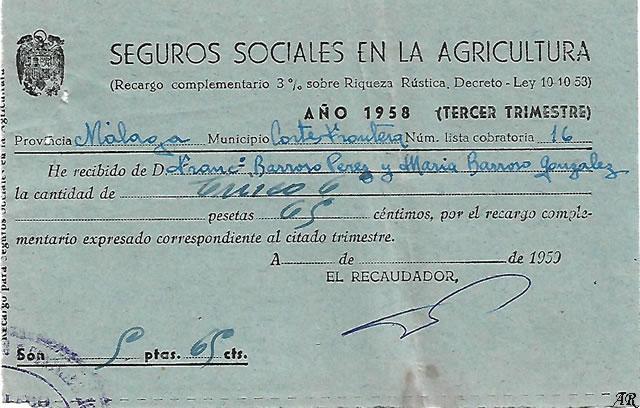 Seguros Sociales en la Agricultura -1958