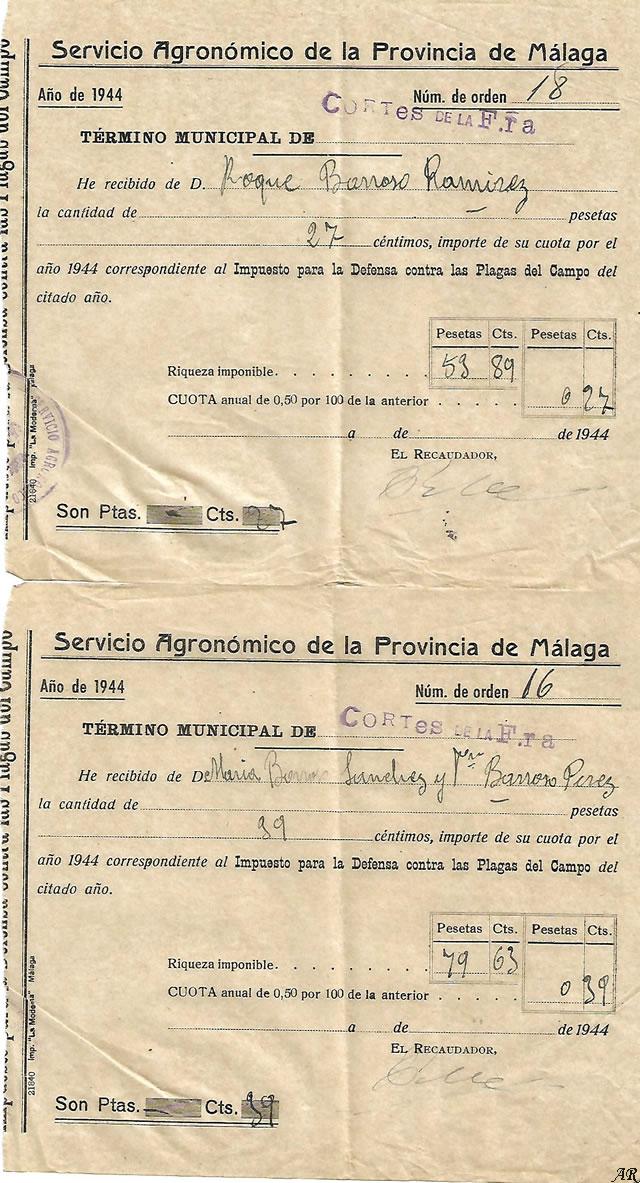 Servicio Agronómico de la Provincia de Málaga - Cortes de la Frontera. 1944