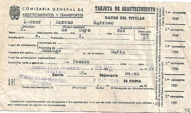 Comisaría General de Abastecimientos y Transportes - Tarjeta de Abastecimiento - Año 1944