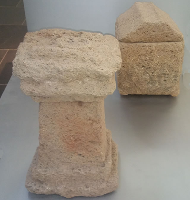 Funeral altar. Fossil-bearding calcarenite, 1st century AD (Eastern necropolis) and Funeral urn, fossil-bearing calcarenite, 1st century AD (Eastern necropolis)